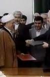 مصاحبه با آیت الله  هاشمی رفسنجانی و رئیس جمهور گرجستان در بدو ورود رییس جمهور گرجستان به ایران